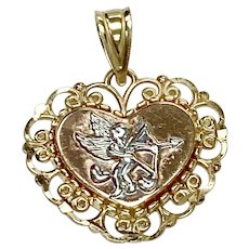 Cupid Heart Vintage Charm 14K Tri-Color Gold