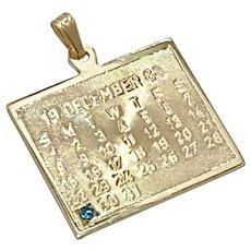 December Calendar Vintage Charm 14K Gold Blue Zircon Accent 1968