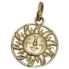 Benevolent Face SUN Vintage Charm 14K Gold