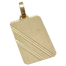 Vintage Rectangular Tag Charm/Pendant 18K Gold