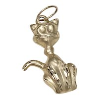 Cute Domestic Cat Vintage Charm/Pendant 14K Gold Three-Dimensional