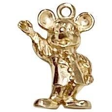 Mickey Mouse Charm 14K Gold Three-Dimensional Walt Disney Productions