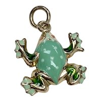 FROG Vintage Charm 14K Gold Colorful Enamel Three-Dimensional