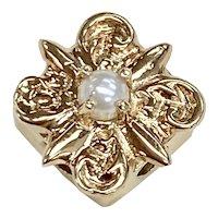 Victorian Revival Slide 14K Gold & Cultured Pearl, Add a Slide Bracelet