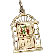 Christmas Decorated Door, OPENS 14K Gold Colorful Enamel - Merry Xmas