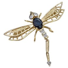 Articulated Jeweled Dragonfly Pendant Brooch 14K Gold Sapphire & Diamond