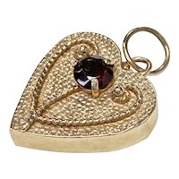 Edwardian Heart Charm 14K Gold & Garnet