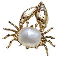 Jeweled CRAB Vintage Pendant/Charm/Pin 10K Gold Pearl & Diamond