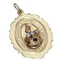 Jeweled Vintage Birthday Charm 14K Gold & Diamond