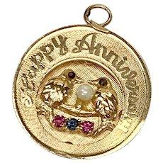 Jeweled Anniversary Vintage Charm 14K Gold circa 1969
