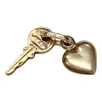 Tiny Puffy Heart & Key Vintage Charms 14K Gold Three-Dimensional