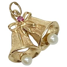 Jeweled Bells Vintage Charm 14K Gold ~ Wedding or Holiday