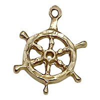 Ships Wheel Vintage Nautical Charm 14K Gold Three-Dimensional