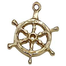Ships Wheel Vintage Nautical Charm 14K Gold Three-Dimensional
