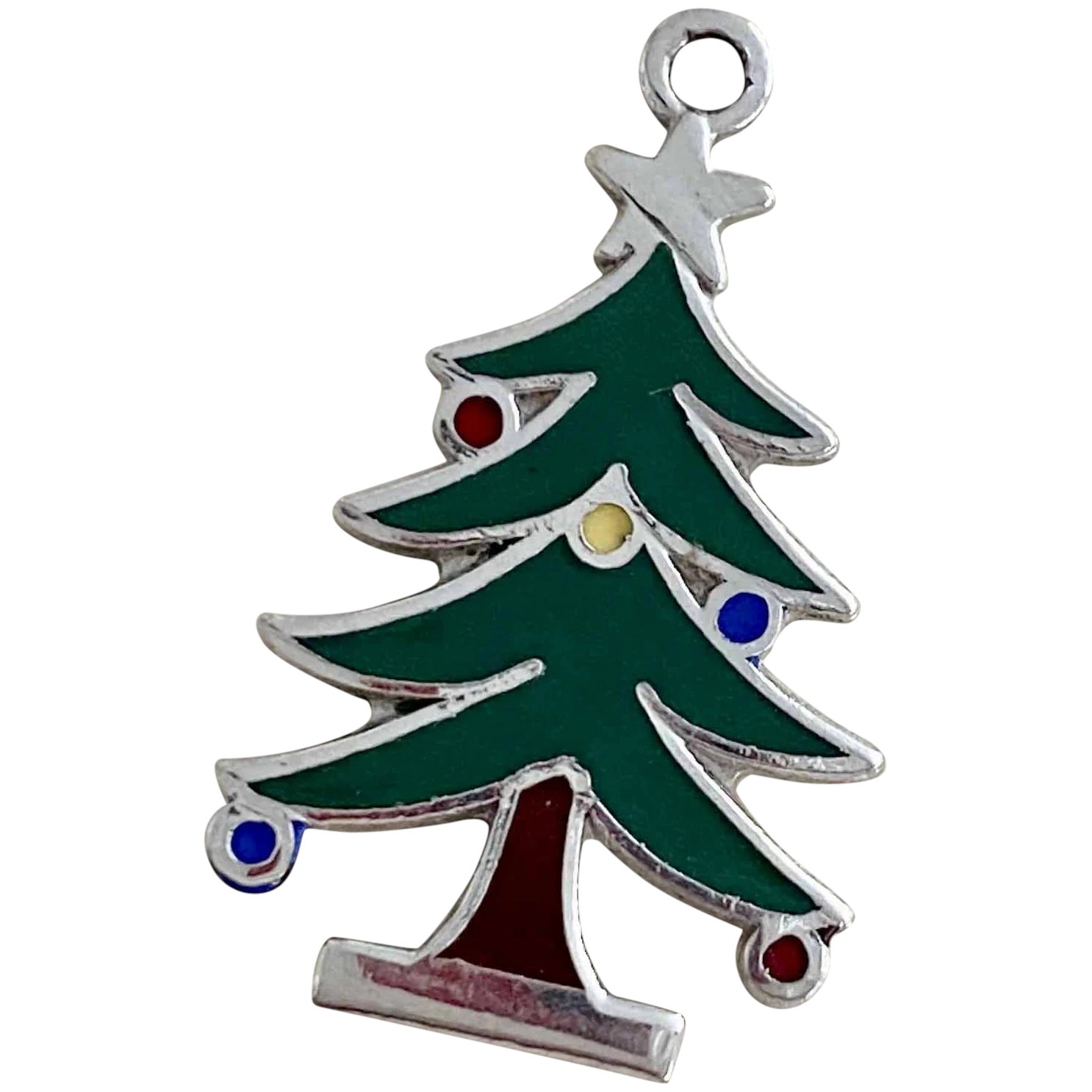 Christmas Tree Vintage Holiday Charm Sterling Silver Colorful Enamel A Charmed Life Ruby Lane