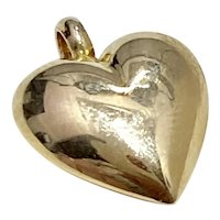Puffy Heart Vintage Charm 14K Gold