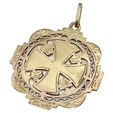 Maltese Cross Ornate Vintage Medallion / Pendant / Charm 18K Gold