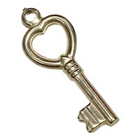 Heart Top Key Vintage Charm 14K Gold Three-Dimensional