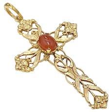 Ornate Cross Pendant Gold on Sterling Silver & Carnelian, Creed