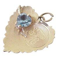 Vintage Sweet 16 Jeweled Charm 14K Gold, Faux Blue Zircon (December)