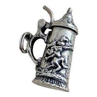 Medieval Moving Tankard Vintage Charm 800 Silver, Knight / Castle