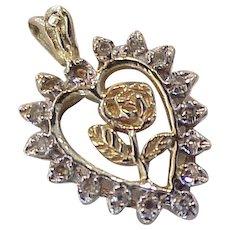 Rose Heart Charm Diamond Accent 14K Gold