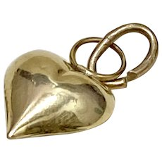 Small Puffy Heart Charm Three Dimensional 14K Gold