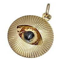 Evil Eye Protection Amulet Vintage Charm Three-Dimensional 14K Gold
