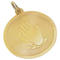 Praying Hands Vintage Charm 10K Gold circa 1960-70's