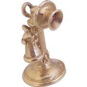 Candlestick Telephone Vintage Charm 14K Gold Three-Dimensional circa 1950's