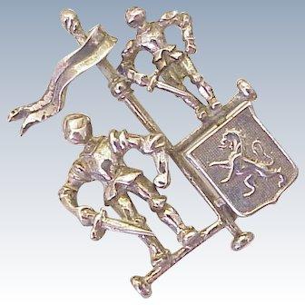 Vintage Walter Lampl Brooch Medieval Knight Theme Sterling Silver