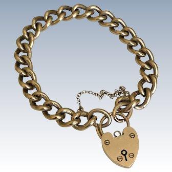 Vintage Solid Link 9K European Gold Bracelet w/ Heart Lock Clasp 40.8G