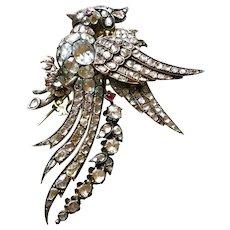 BIG Early Victorian En Tremblant Diamond BIRD Brooch / Trembler