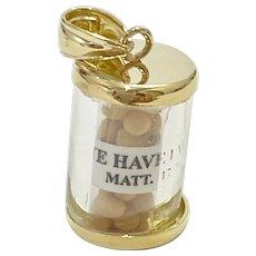 Mustard Seed / Faith Amulet Charm 14K Gold, Matthew 17:20