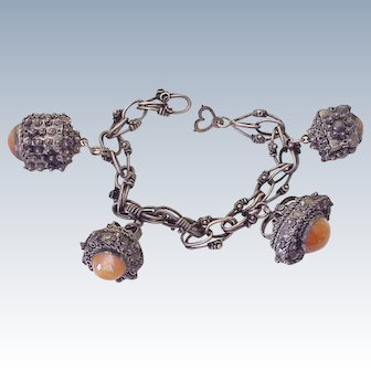 Etruscan Revival Big Chunky Charm Bracelet Sterling Silver & Carnelian