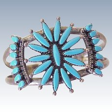 Vintage Native American Cuff Bracelet Sleeping Beauty Turquoise Sterling Silver