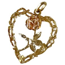 Big Heart & Rose Charm/Pendant Tri-Color 14K Gold