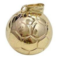 Soccer Ball Vintage Sport Charm 14K Gold Three-Dimensional
