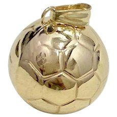 Soccer Ball Vintage Sport Charm 14K Gold Three-Dimensional