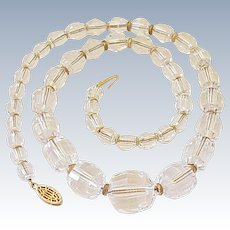Faceted Crystal & 10K Gold Graduated Necklace, Gold Chain & Spacer Beads