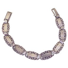 WWII Forget Me Not Bracelet Sterling Silver