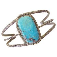 Vintage Native American Cuff Bracelet Darling Darlene Turquoise & Sterling Silver