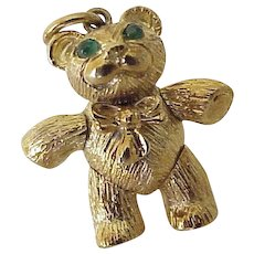 Articulated Teddy  Bear Vintage Charm SOLID 18K Gold Emerald Eyes