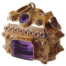 BIG Jeweled Treasure Chest Vintage Charm OPENS 18K Gold circa 1950's