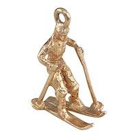 Snow Skier Vintage Charm 14K Gold Three-Dimensional