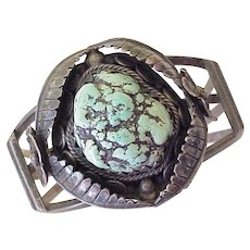 Vintage Native American Chunky Cuff Bracelet Rough Turquoise & Sterling Silver