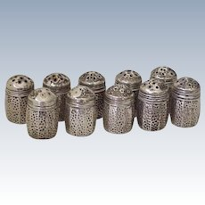10 Piece Set of Individual Salt & Pepper Shakers Sterling Silver
