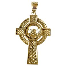 Celtic Cross Pendant With Claddagh 14K Gold