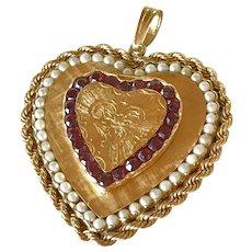 HUGE Jeweled Heart Charm/Pendant Locket 14K Gold Garnet & Cultured Pearl