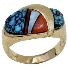 Native American Crafted Ring 14K Gold Colorful Intarsia Inlay